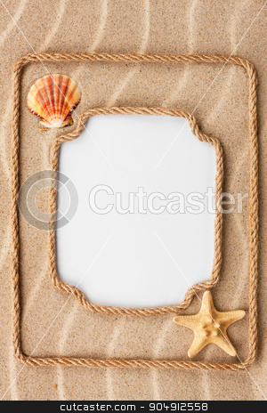 Two beautiful frame made of rope and sea shells with a white bac stock photo, Two beautiful frame made of rope and sea shells with a white background, on the sand by alekleks