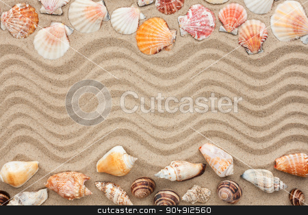 Sea shells with sand as background stock photo, Sea shells with sand as background, concept  by alekleks