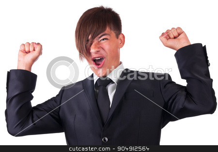 Joyful businessman raised his hands stock photo, Joyful businessman raised his hands, isolated on white background by alekleks