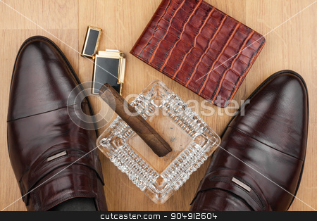Male still life, classic men's shoes and a cigar in an ashtray stock photo, Male still life, classic men's shoes and a cigar in an ashtray, can use as background by alekleks