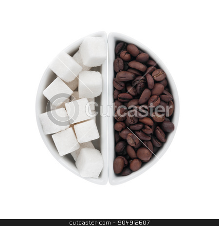 lump sugar and coffee beans in a ceramic bowl stock photo, lump sugar and coffee beans in a ceramic bowl, isolated on white background by alekleks