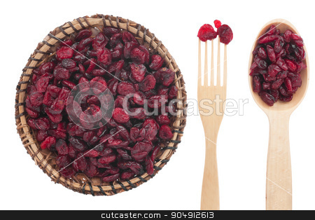 Spoon, a fork, a plate with dried cranberries stock photo, Spoon, a fork, a plate with dried cranberries, isolated on white background by alekleks