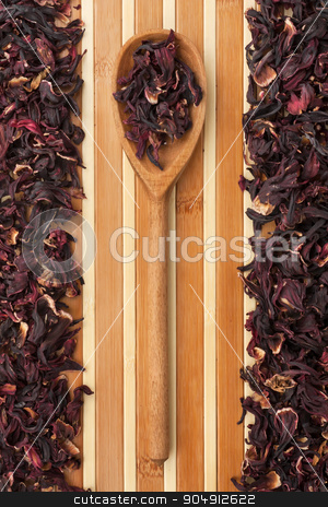 Wooden spoon with  roselle , hibiscus  stock photo, Wooden spoon with  roselle , hibiscus , can be used as a background by alekleks