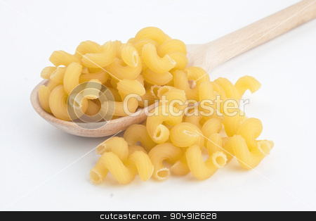 Macaroni in wooden spoon stock photo, Macaroni in wooden spoon isolated on white background  by alekleks