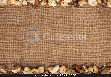 dried mushrooms  were lying on sackcloth stock photo, dried mushrooms  were lying on sackcloth, with space for text by alekleks