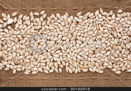 Pumpkin seed  lying on sackcloth between the lines stock photo, Pumpkin seed  lying on sackcloth between the lines, can be used as background by alekleks