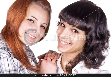 Two girl friends  stock photo, Two girl friends together smiling  by alekleks