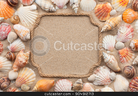 Pointer made of rope with sea shell stock photo, Pointer made of rope with sea shell, lying on the sand by alekleks