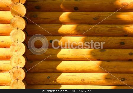 Wooden wall stock photo, Wooden wall from logs of a modern Ukrainian house by Mykola Komarovskyy