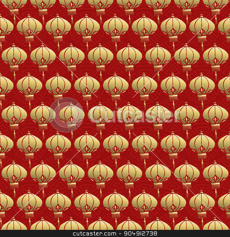 Chinese seamless pattern red lantern lamp gold stock vector clipart, Traditional chinese lamp seamless pattern, celebration lantern background in gold and red colors. EPS10 vector. by Cienpies Design