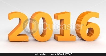 Yellow 2016 year on a gray background. 3d rendered image stock photo, Yellow 2016 year on a gray background. 3d rendered image by Vladimir Khapaev