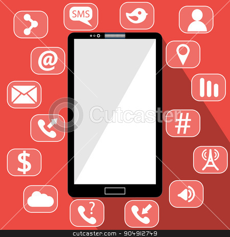 Flat vector illustration of modern Mobile phone with different icons stock vector clipart, Flat vector illustration of modern Mobile phone with different icons by Vladimir Khapaev