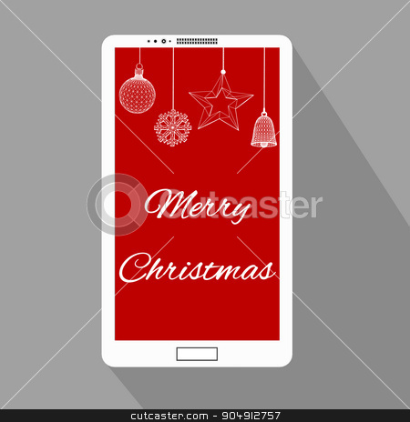 mobile phone with Christmas Design interface. Mobile Phones Background stock vector clipart, mobile phone with Christmas Design interface. Mobile Phones Background by Vladimir Khapaev