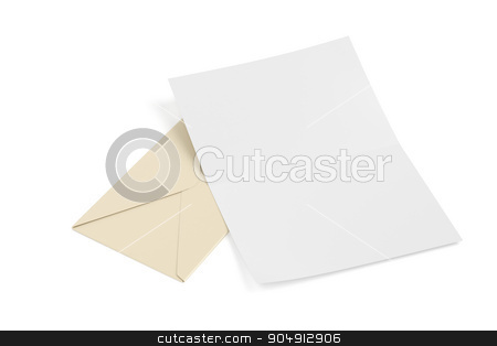 Envelope and blank paper stock photo, Envelope and blank paper on white background by Mile Atanasov