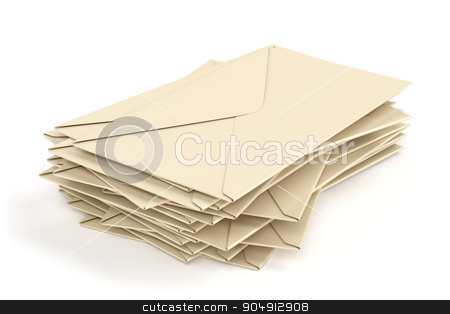 Group of envelopes stock photo, Group of envelopes on white background by Mile Atanasov