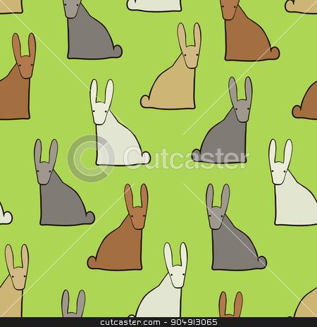 Background with funny hares stock vector clipart, Seamless background with funny colorful hares, vector by Aleksandra Serova