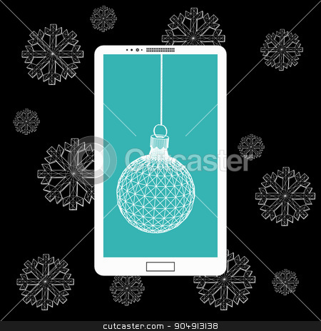 Flat vector illustration of modern Mobile phone with Christmas decoration. The structural grid of polygons. Abstract Creative concept background. Christmas ornaments hanging rope stock vector clipart, Flat vector illustration of modern Mobile phone with Christmas decoration. The structural grid of polygons. Abstract Creative concept background. Christmas ornaments hanging rope by Vladimir Khapaev