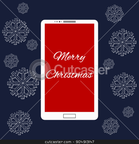 Flat vector illustration of modern Mobile phone with Merry Christmas decoration. The structural grid of polygons. Abstract Creative concept background. Christmas ornaments hanging rope stock vector clipart, Flat vector illustration of modern Mobile phone with Merry Christmas decoration. The structural grid of polygons. Abstract Creative concept background. Christmas ornaments hanging rope by Vladimir Khapaev