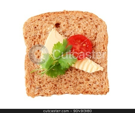 Brown bread and butter stock photo, Slice of whole grain bread with butter by Digifoodstock