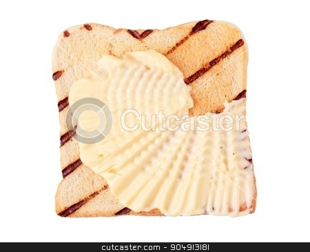 Toast and margarine stock photo, Slice of grill toasted bread with  margarine by Digifoodstock