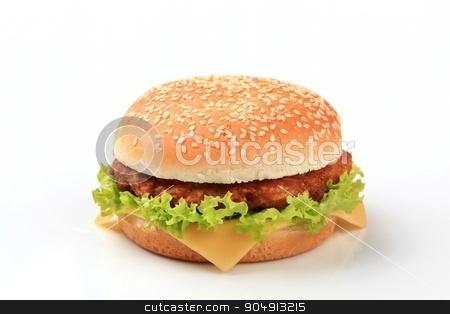 Cheeseburger stock photo, Closeup of a cheeseburger - studio shot by Digifoodstock