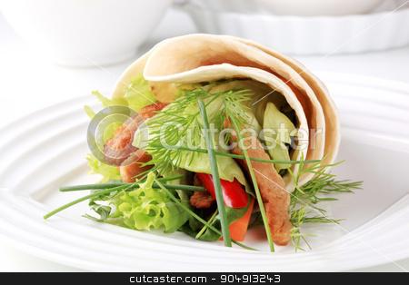 Vegetarian wrap sandwich  stock photo, Vegetarian wrap sandwich with strips of soy meat by Digifoodstock