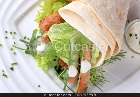 Vegetarian wrap sandwich  stock photo, Vegetarian wrap sandwich with pieces of soy meat by Digifoodstock