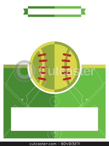 Softball Game Flyer Illustration stock vector clipart, A template flyer background for a softball game. Vector EPS 10 available. by Jason Enterline