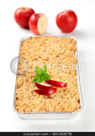 Apple crumble pie stock photo, Apple crumble pie in aluminum foil container by Digifoodstock