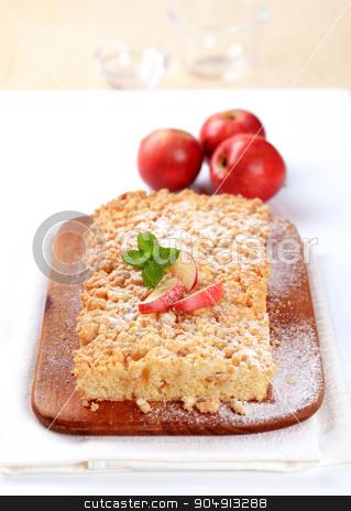 Apple crumb cake  stock photo, Apple crumb cake  on a cutting board by Digifoodstock