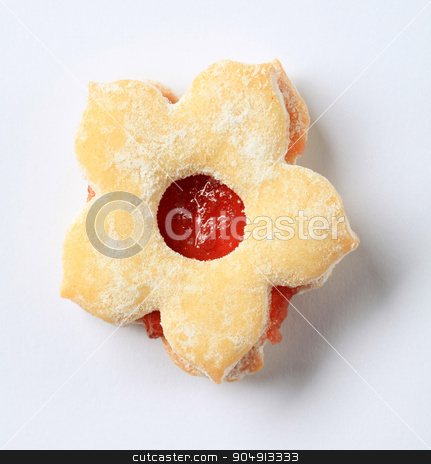 Jam biscuit stock photo, Jam filled cookie dusted with icing sugar by Digifoodstock