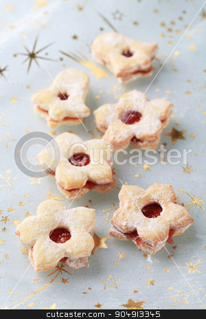Christmas cookies stock photo, Christmas jam cookies sprinkled with icing sugar by Digifoodstock