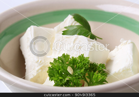 Fresh cheese stock photo, Cubes of cream cheese in bowl by Digifoodstock