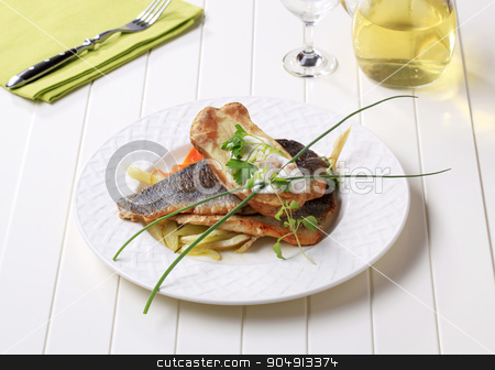 Pan-fried trout fillets with baked potato stock photo, Pan fried trout fillets with roasted potato by Digifoodstock