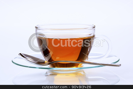 Cup of tea stock photo, Black tea in a glass cup - studio by Digifoodstock