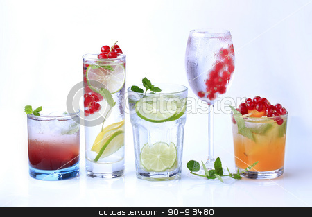 Summer drinks stock photo, Iced drinks garnished with fresh fruit - studio by Digifoodstock