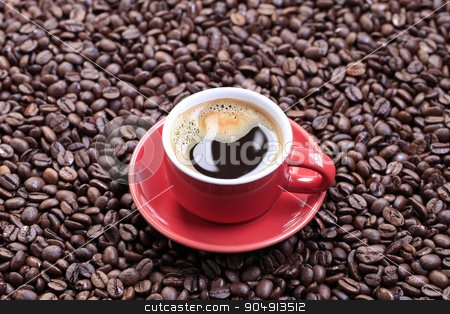 Cup of coffee stock photo, Cup of black coffee on a bed of coffee beans by Digifoodstock