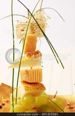 Cheese and pear skewer  stock photo, Cheese and pear skewer garnished with sprouts and chives by Digifoodstock