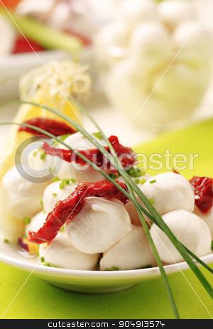 Mozzarella cheese  stock photo, Mozzarella cheese balls and sun dried tomato by Digifoodstock