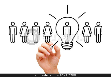 Great Idea Light Bulb Concept stock photo, Hand drawing Great idea light bulb concept with marker on transparent wipe board. by Ivelin Radkov