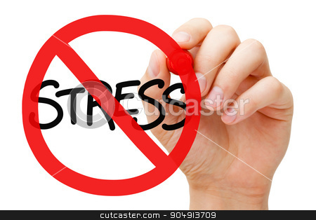 Stress Prohibition Sign Concept stock photo, Hand drawing Stress prohibition sign concept with marker on transparent wipe board. Reduce stress. by Ivelin Radkov
