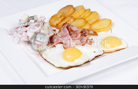 Young brunette lady with beautiful hair stock photo, Plate of delicious breakfast with bacon, eggs, tomatoes, potatoes and salad on white background by ALEKSANDR