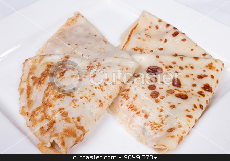 pancakes stuffed with meat and mushrooms stock photo, pancakes stuffed with meat and mushrooms on a white background by ALEKSANDR