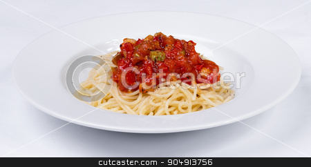 vegetable pasta with meatballs and tomato sauce stock photo, vegetable pasta with meatballs and tomato sauce on a white background by ALEKSANDR