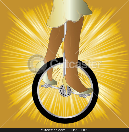 Unicycle On Golden Splash stock vector clipart, A unicycle and woman rider over a golden splash background by Kotto