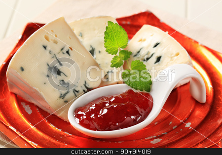 Blue Brie cheese stock photo, Blue Brie cheese and strawberry jam by Digifoodstock