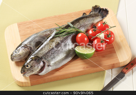 Fresh trout on cutting board stock photo, Two fresh trout on a cutting board by Digifoodstock