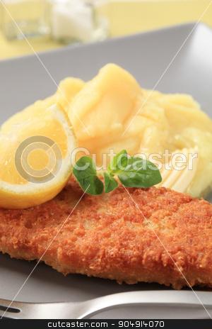 Fried fish with mashed potato stock photo, Fried breaded fish fillet with mashed potato by Digifoodstock