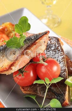 Pan fried salmon trout fillets stock photo, Pan fried salmon trout fillets (skin on) by Digifoodstock