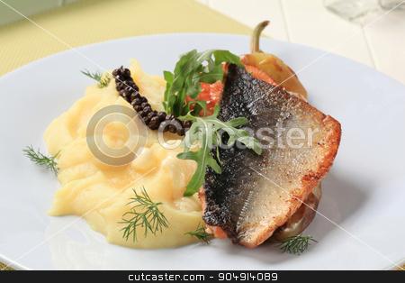 Pan fried salmon trout with mashed potato stock photo, Dish of pan fried salmon trout and mashed potato by Digifoodstock